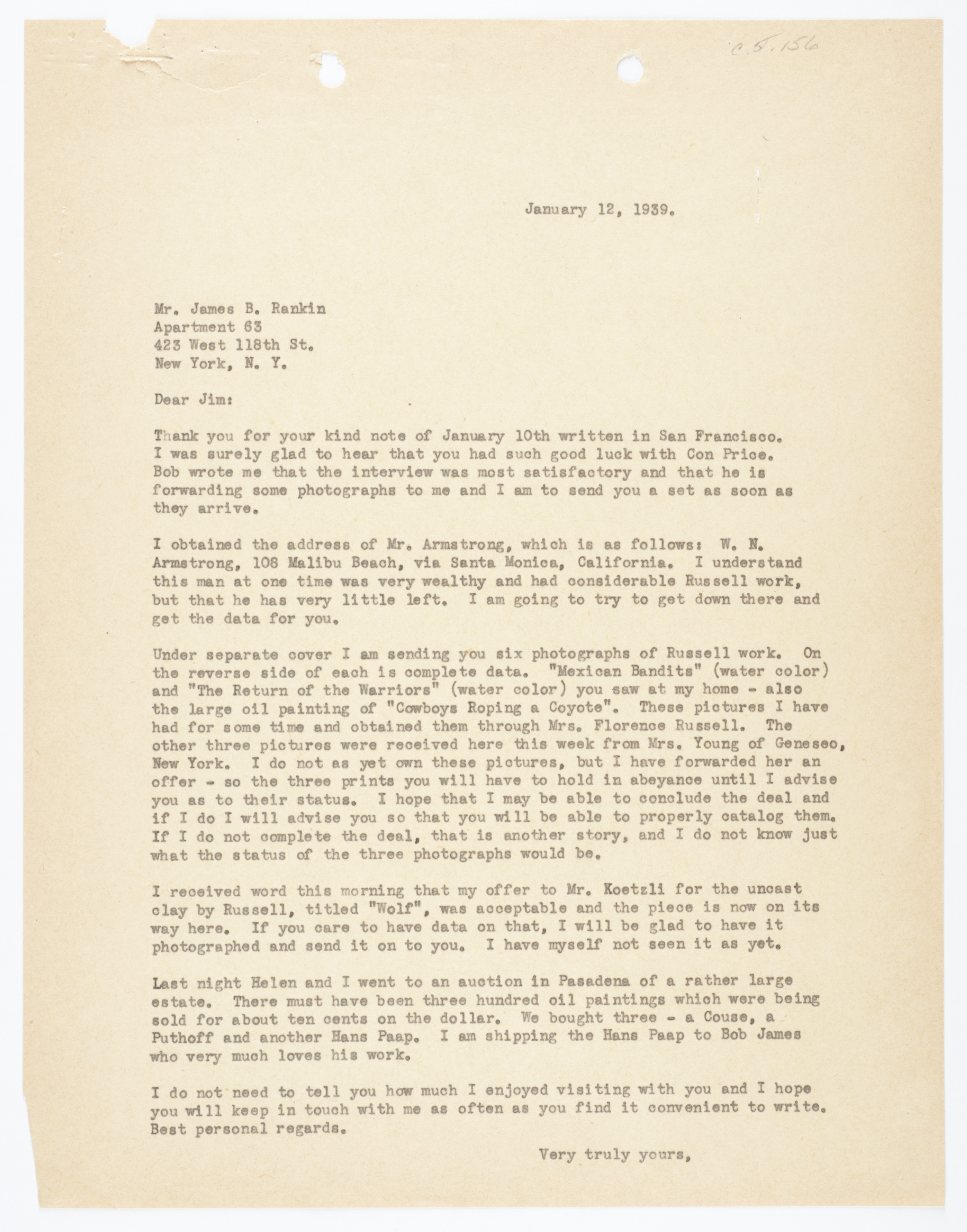 From Homer Britzman to James B  Rankin / Homer E  Britzman