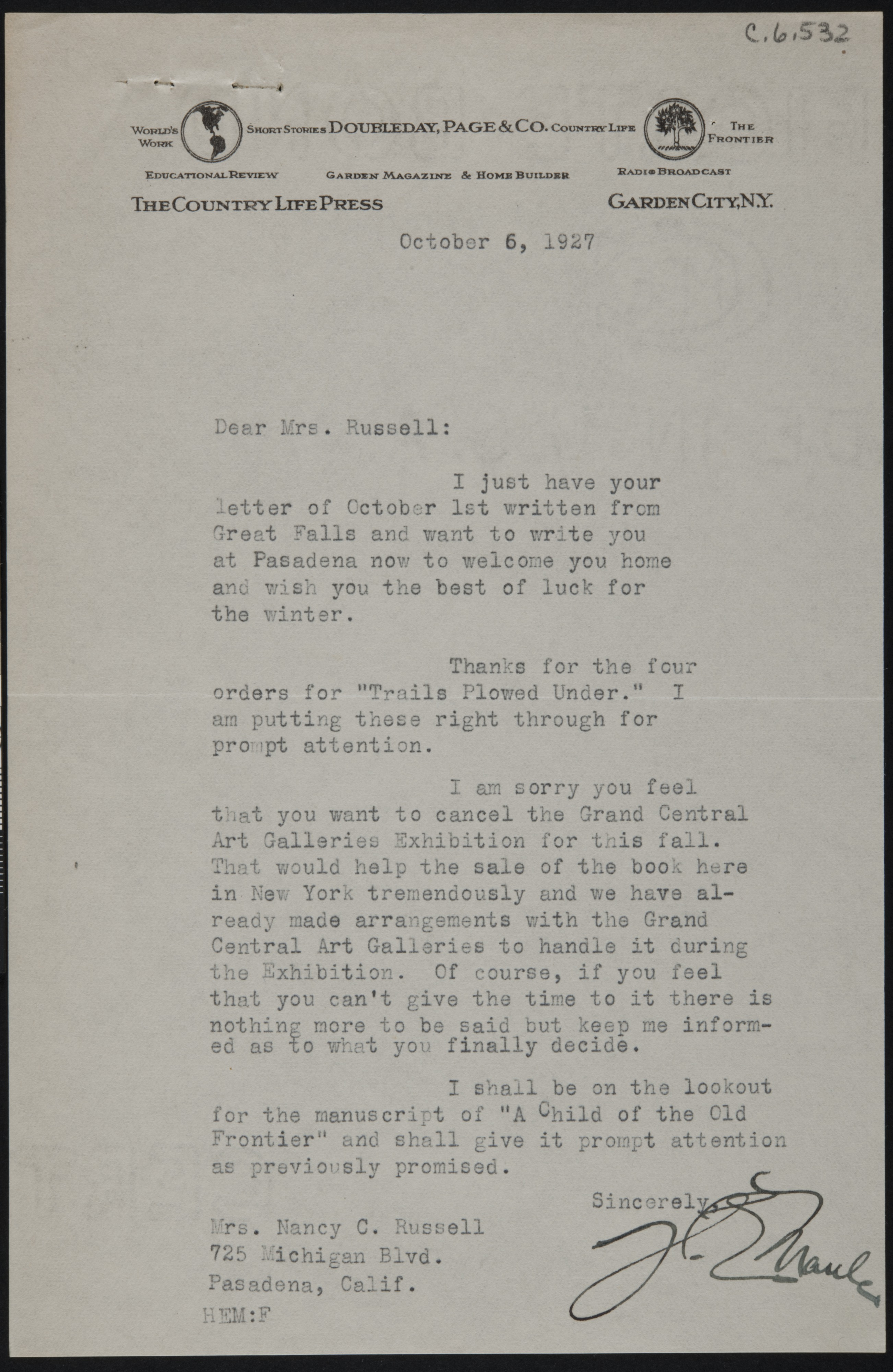 Letter From H E Maule To Nancy C Russell Harry E Maule