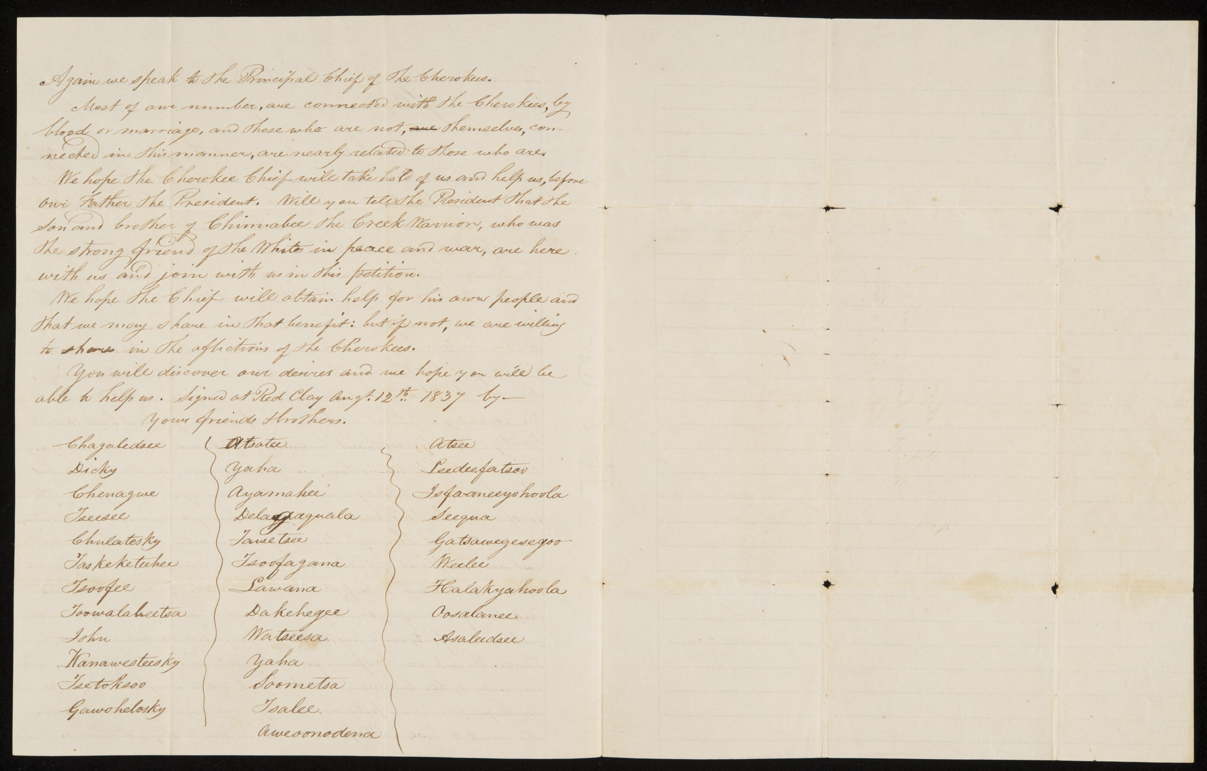 Letter from Creeks Residing in Cherokee Nation to Chief John Ross