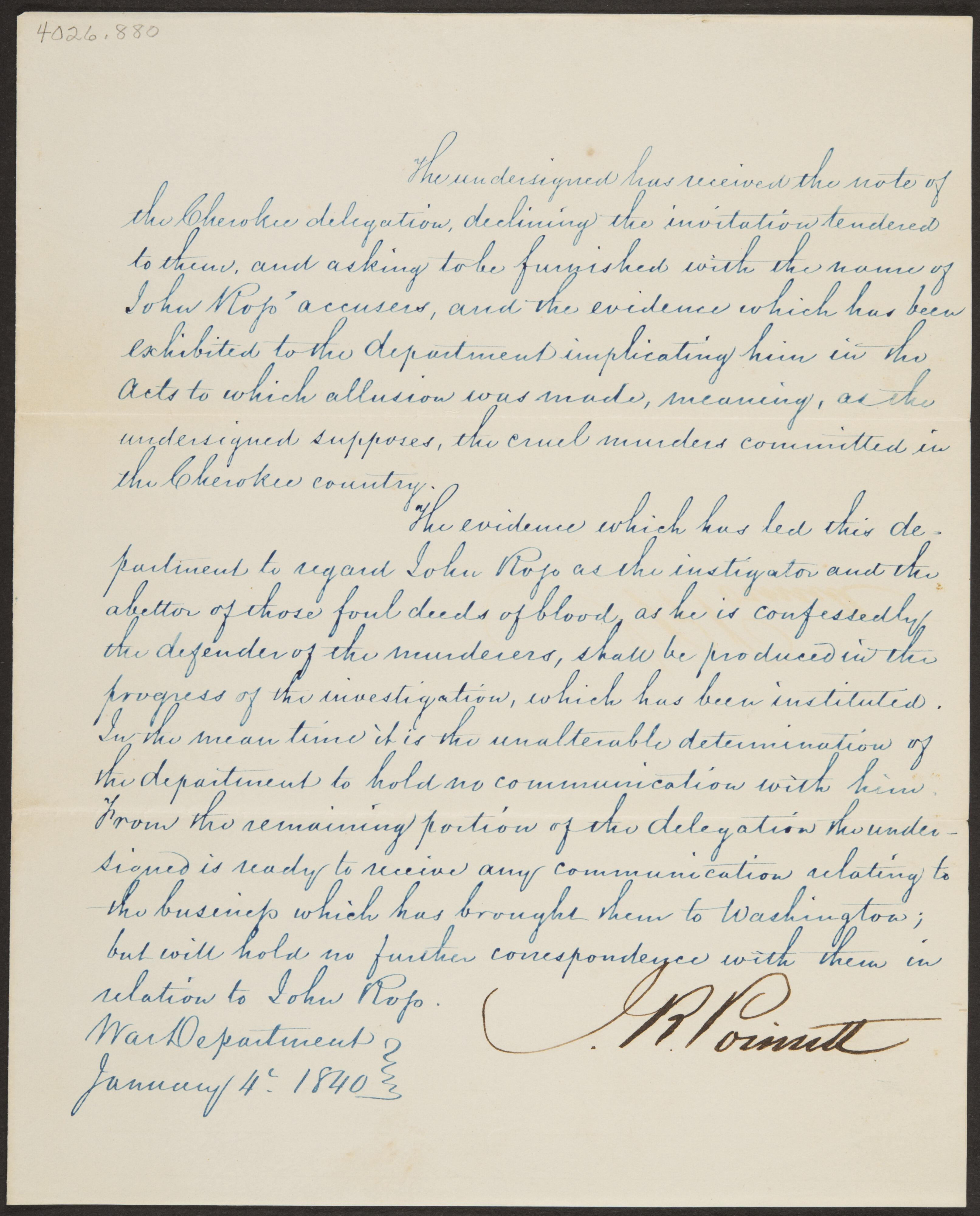Letter From Secretary Of State Joel Roberts Of Poinsett To Cherokee Delegation Joel Roberts Poinsett Gilcrease Museum