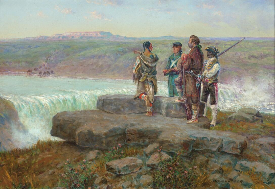 lewis and clark with sacajawea at the great falls of the missouri