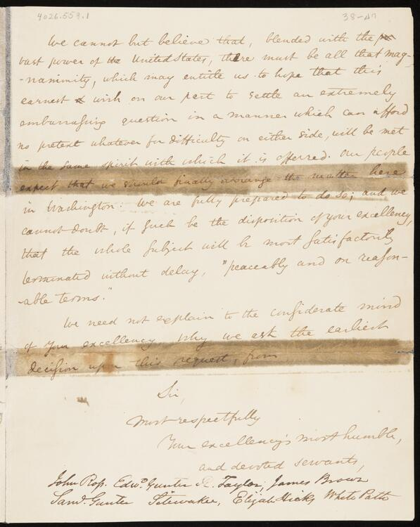 Letter From Cherokee Delegation: Chief John Ross, Edward Gunter