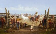 Vaqueros in a Horse Corral