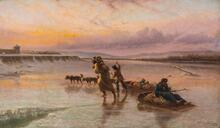 Enroute to Winter Camp, Indian Dog Sleds Crossing Ice