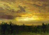 Landscape with Sunset Reflecting in Sky