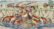 Long Horns Watering on Cattle Drive