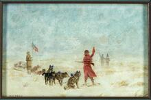Kenneth McKenzie - First Factor of American Fur Co. With Ever Present Flag, Dogs, and Red Coat Near Fort Union About 1831