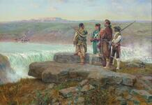 Lewis and Clark with Sacajawea at the Great Falls of the Missouri 1804