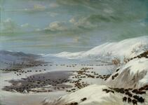 A Snow Landscape with Buffalo