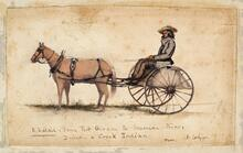 US Mail Cart Traveled between Ft Gibson & Sherman Texas Driven by Creek Indian