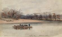 Ferry Crossing Arkansas River in 1867