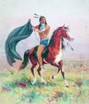 Indian Holding Blanket on Horse
