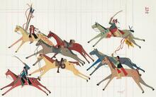 Ledger Painting of Indians Stealing Military Horses