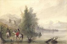 Shoshone Indian and Squaw Crossing River