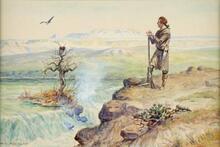 Lewis at the Black Eagle Falls of the Missouri