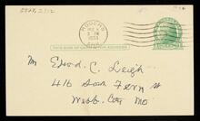 Postcard from W.H. Hennesey to Edward C. Leigh thanking him