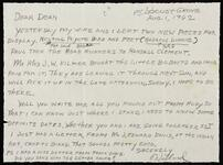 Letter from Willard to Dean about Rudy (Wunderlich)