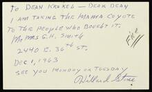 """Card from Stone to Krakel about delivering """"Mama Coyote"""" to G.H. Smith."""