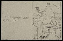 """Card entitled """"Clip Springer Group"""" made by A. A. Jansson to celebrate Ackeley's birthday"""
