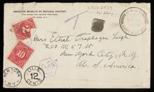 Letter with envelope from Leigh to Ethel Traphagen Leigh describing the country, animal life, Sanburu tribe and the start of two water hole scenes