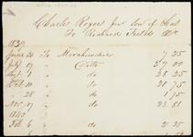 Partial statement of account of Charles Rogers to Richard Fields