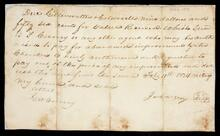 Fragment of an order by James W. Gray to B.F. Curry to pay Gilllenwatters and Coldwell