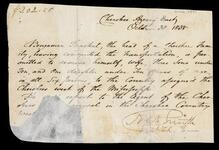 Permit from Cherokee Agency East allowing Benjamin Bracket family to migrate to Cherokee Country West