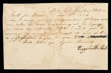 Letter from Elizabeth Peck to Captain John Drew requesting a refund of any overpayment on her account