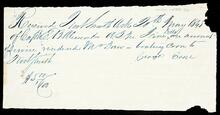 Receipt of payment from Captain E. B. Alexander to Mr. Drew