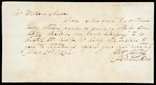 Delivery order to Mr. William Simcoe for barrels of whiskey
