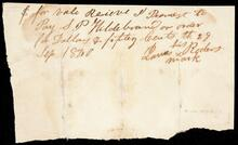 Promissory note to S. P. Hildebrand for four dollars and fifty cents