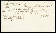 Bill addressed to Governor P. M. Butler for $5.25 on the account of Drew & Fields