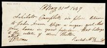 Note to Archibald Campbell from Rachel McDaniel requesting delivery of girl named Eliza