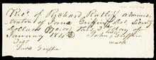 Receipt of payment of seventy dollars ($70.00) to John Griffin from Richard Ratliff, Administrator of Jane Griffin, deceased