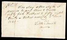 Promissory note to Drew & Fields by Little Meat for fifty five dollars and fifty cents