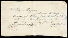 Request from James C. Foy, Fort Smith, to pay to Captain John Rogers $160.00