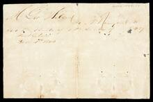 Promissory note to George Nelson for unknown debtor I the amount of $4.37