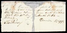 Fragment of promissory note to Drew and Fields witnessed by John Roddy