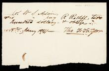 Promissory note to Colonel W.S. Adair from Thomas F. Taylor to pay R. Ratliff two hundred dollars.