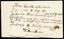 Promissory note from William Drew to Mr. Makinzie for the sum of three hundred and sixty-eight dollars and twenty-five cents