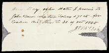 Promissory note to John Drew for Sixteen dollars and 75 cents