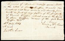 Receipt for distributions by Richard Ratiff, Administrator of estate of Daniel Griffin