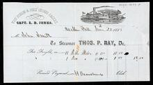 Shipping receipt for freight on a steamer