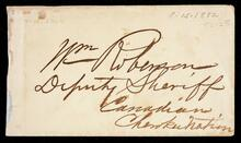 Envelope addressed to Wm. Roberson [sic] Deputy Sheriff of the Canadian District, Cherokee Nation