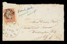 Envelope addressed to Mr. Lewis Ross in Washington, D.C on Pennsylvania Avenue