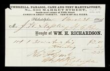 Receipt from William H. Richardson of Philadelphia for a purchase at a parasol and cane store by J.W. Staples for H.C. Ross