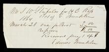 Receipt from Edward Franklin for boots purchased by J. W. Staples for Henry C. Ross