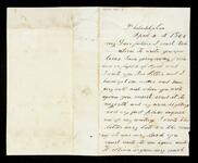 Letter from Henry C. Ross to his father, Lewis Ross regarding personal things. He does not want to return to the Cherokee Nation
