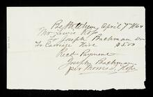 Receipt from Joseph Bachman to Lewis Ross for a carriage hire from Bethlehem, Pennsylvania to Nazareth Hall, Moravian Boarding School