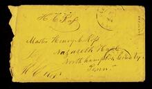 Envelope addressed to Master Henry C. Ross at Nazareth Hall, Northampton County, Pennsylvania